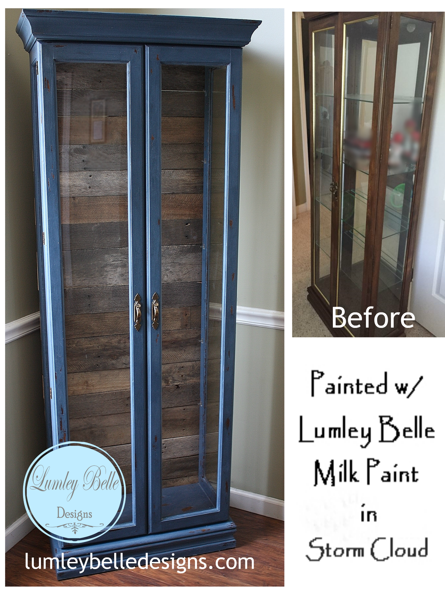 Painted Curio Cabinet The Barn Wood Pallet Wood Reclaimed Wood Over The Back Mirror Is What Painted Curio Cabinets Curio Cabinet Makeover Curio Cabinet Redo