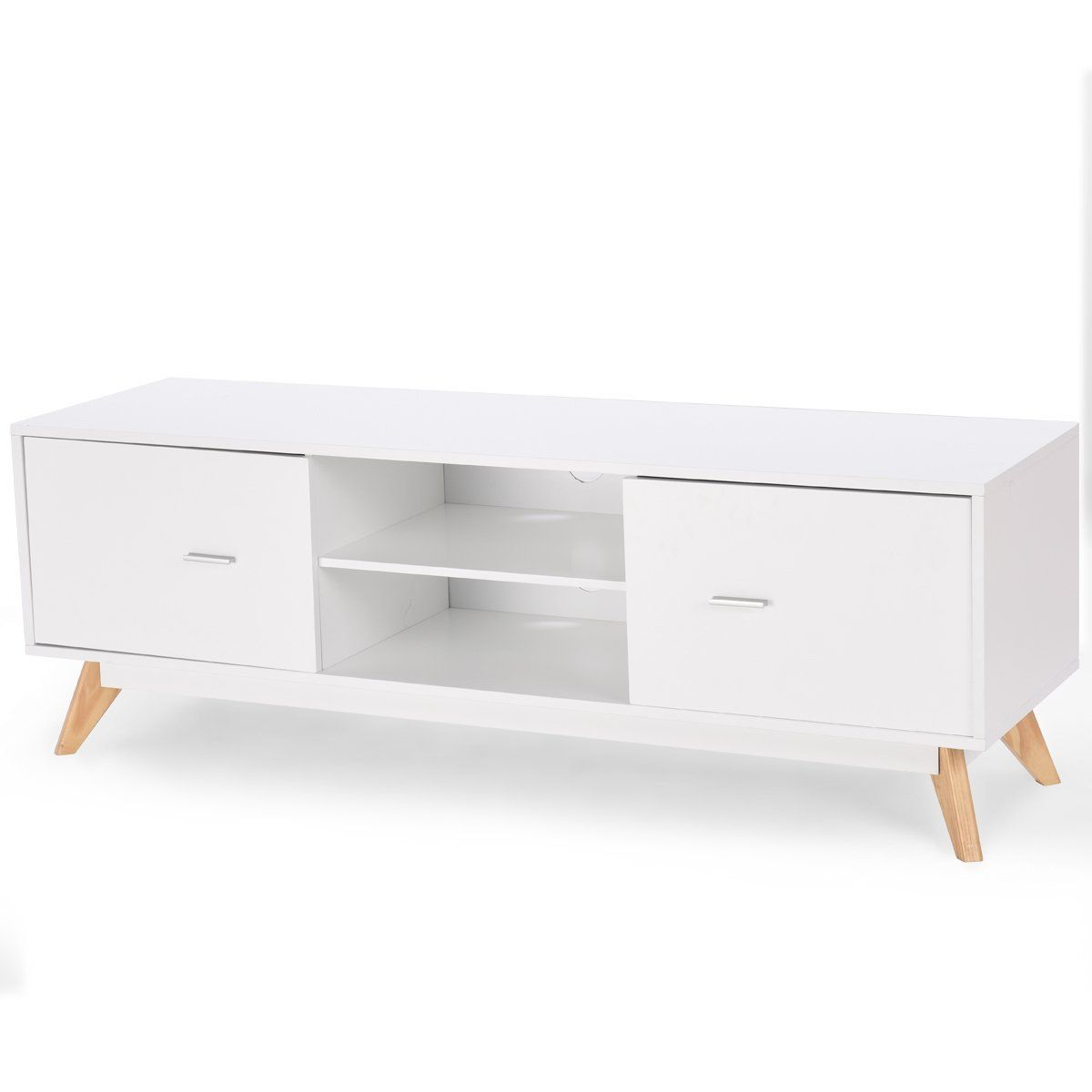 Modern White Console With Light Wood Legs Tv Stand And Entertainment Center Wood Furniture Living Room Tv Stand Luxury