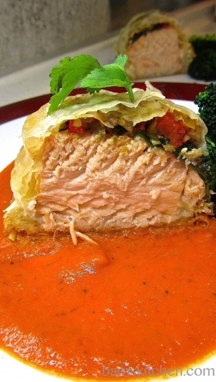 salmon parcels with sweet red bell pepper pesto recipe best seafood recipes stuffed bell peppers food pinterest