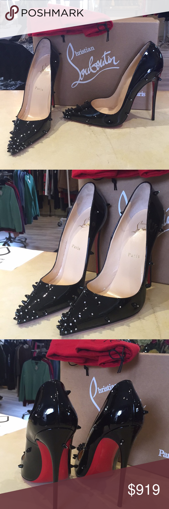 7b997824cf3d Christian Louboutin Diamond Spike Pump NEW 39 Black patent leather Louboutin  spike diamond pumps perfect condition
