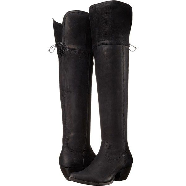 Frye Sacha OTK (Black Soft Antique Pull Up) Cowboy Boots ($249) ❤