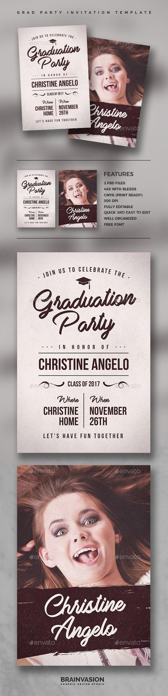 Graduation Party Invitation Template  Afstudeeruitnodigingen