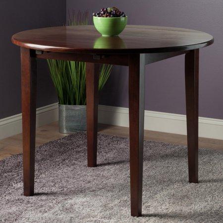 Winsome Wood Clayton Round Drop Leaf Dining Table Walnut Finish Walmart Com Drop Leaf Table Casual Dining Table Solid Wood Dining Table