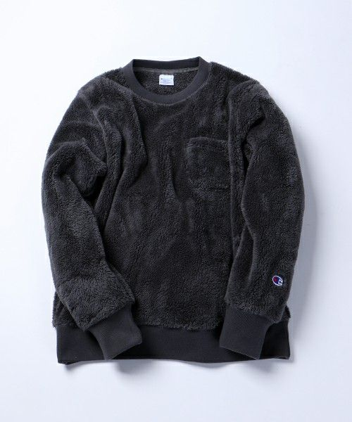 FREAK'S STORE MENS (Freaks Store Men's) Champion × FREAK'S STORE / champion × Freaks store bespoke Sherpa fleece crew neck pullover (Sweat)   charcoal gray