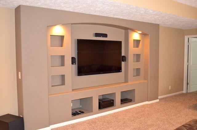 Built in drywalled entertainment center modern media room for Media center built in ideas