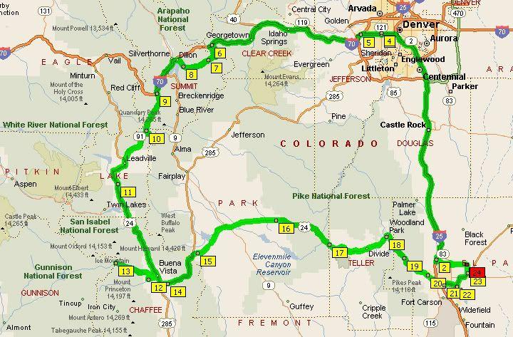 colorado mountain pass map | ... Denver to Colorado Springs and 6 mt ...