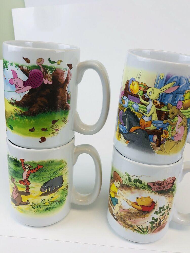 Classic Winnie The Pooh Disney Store Mugs Set Of 4 Disney Store Mugs Winnie The Pooh Mugs