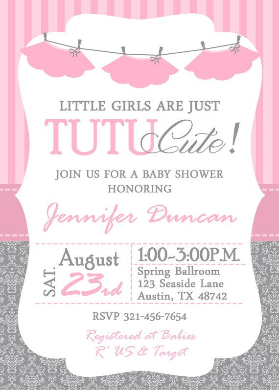Tutu Baby Shower Invitation Me Pinterest Baby Shower