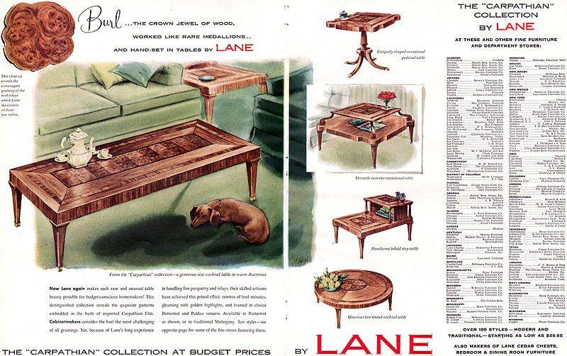lane carpathian collection cocktail table pedestal inlaid mad men romance mad men romance
