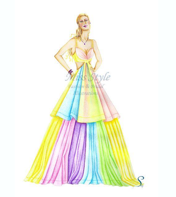 Rainbow fashion Illustration fashion print di MissStyleCreazioni