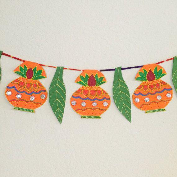 3 39 ft long handmade unique kalsh and mango leaf shape for Art and craft for diwali decoration