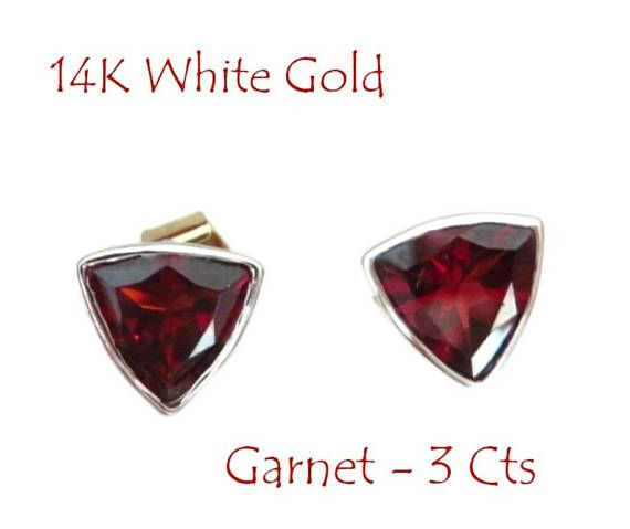 14K White Gold Garnet Studs Vintage 3 Ct Garnet Triangle My Gold