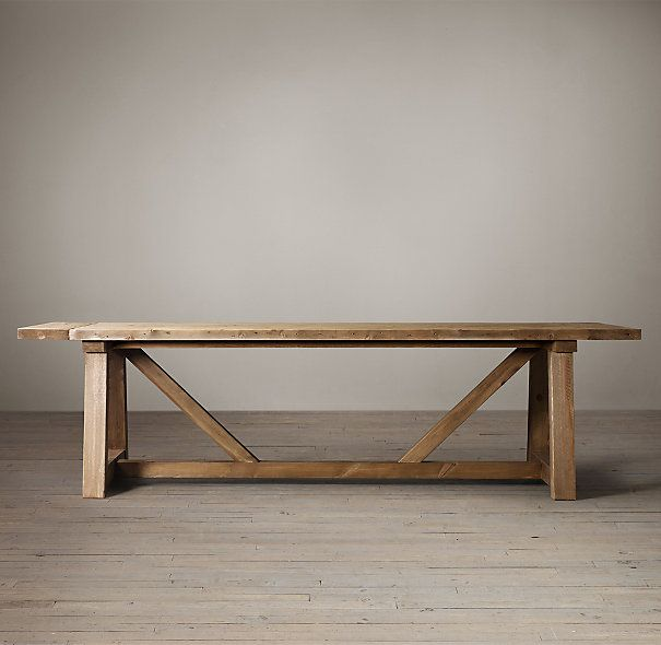 Salvaged Wood Beam Rectangular Extension Table 3000 120W X 40D