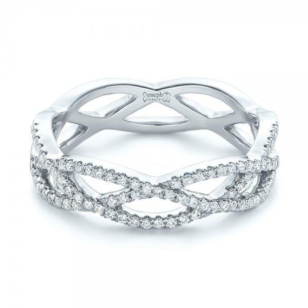Custom Diamond Criss Cross Wedding Band