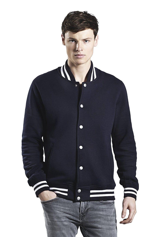 Stripes Varsity Jacket Organic Cotton Navy Blue White