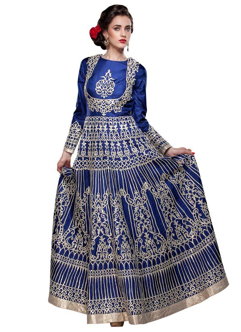Royal blue embroidered ankle length anarkali indian u fashion