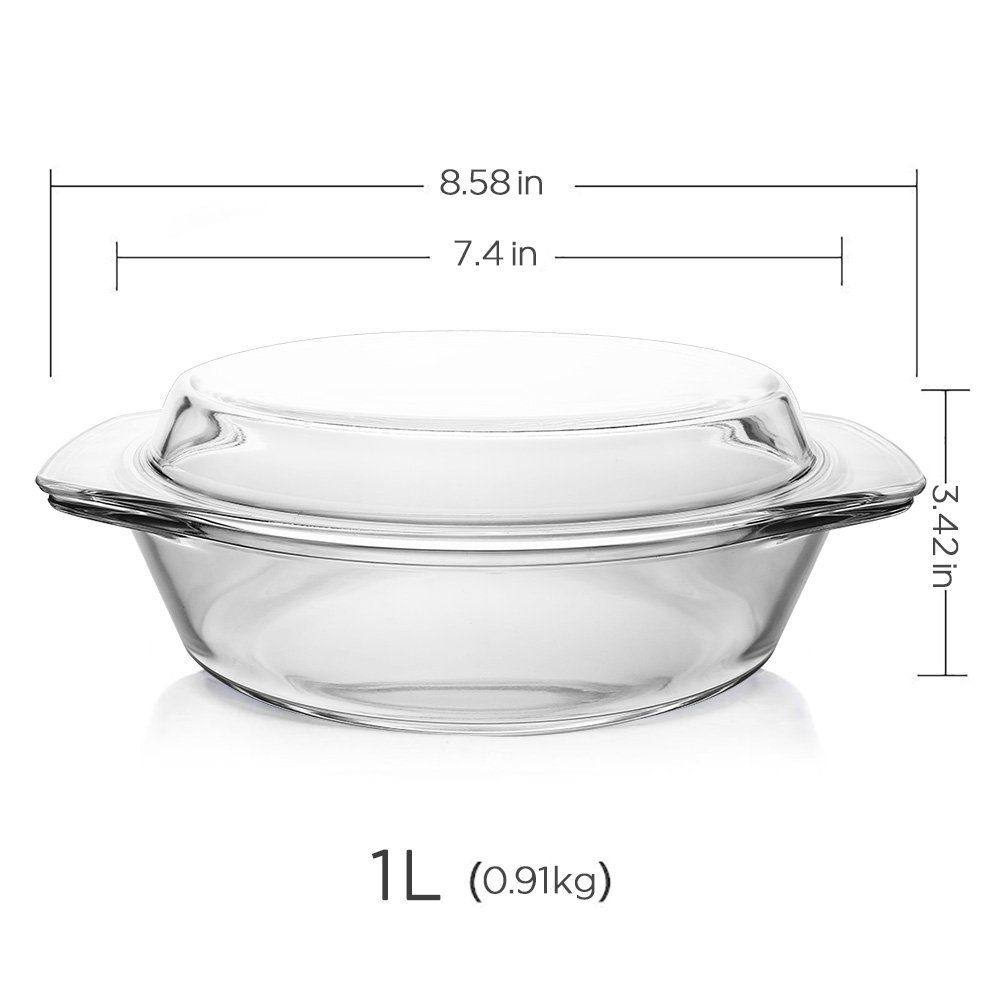 Glass Bakeware Glencreag 1 Liter Round Clear Tempered Glass