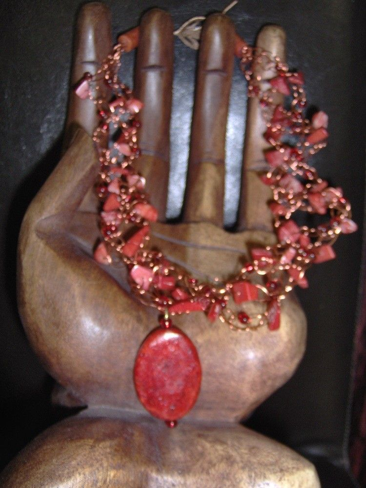 Red Coral Crochet Wire Pendant Necklace OOAK by BADKITTYKNITS on Etsy