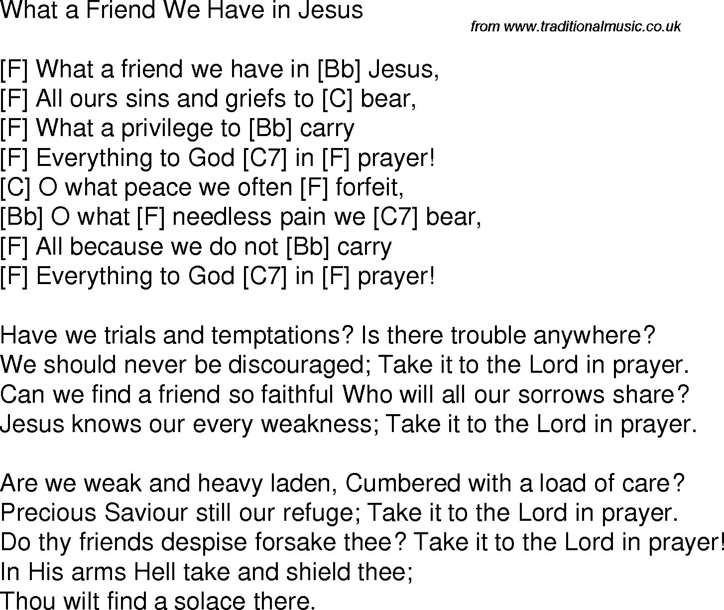 Old Time Song Lyrics With Chords For What A Friend We Have In Jesus