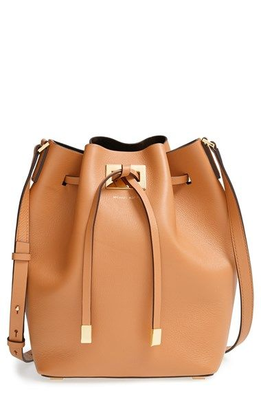 Michael Kors Large Miranda Leather Bucket Bag At Nordstrom Metal Tipped Ties Cinch A Ery Soft That Strikes The Perfect Balance