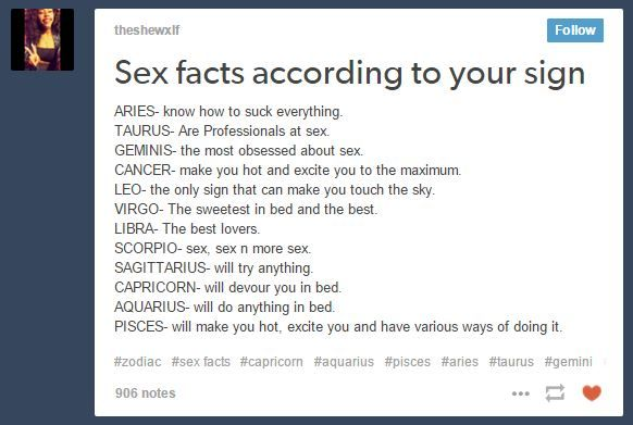 Sexual traits based on zodiac sign