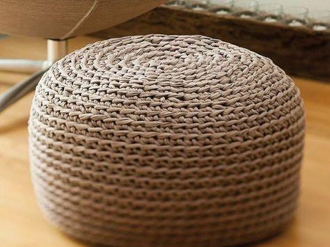 Diy Anleitung Stylischen Sitzpouf Aus Textilgarn Häkeln Via Dawanda