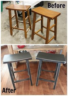 saddle seat bar stools refinished in