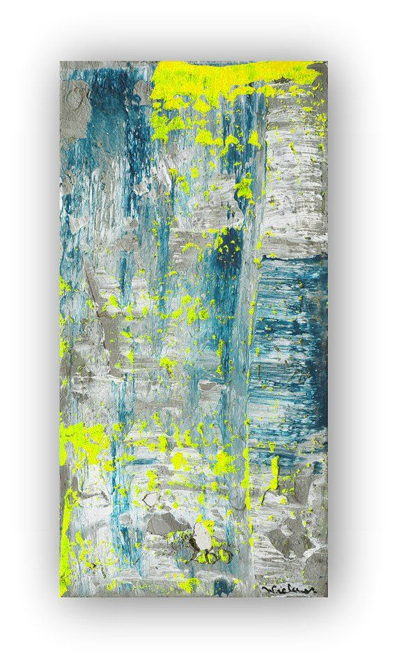 80 X 40 Huge Abstract Modern Teal Blue Yellow Grey By