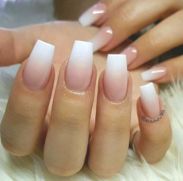 Acrylic Nails French Tip White White Pink Ombre Acrylic Fingernails Manicure French Tip Squa Square Acrylic Nails Ombre Acrylic Nails White Acrylic Nails
