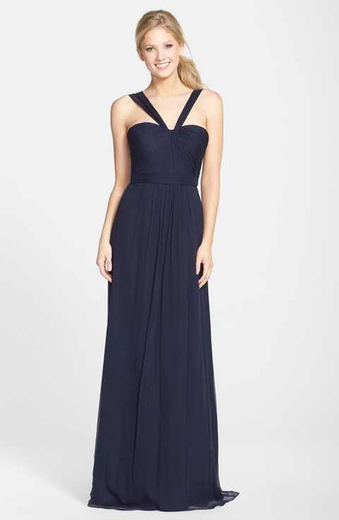 3d982c01464ed Amsale X-Strap Silk Chiffon Gown | gowns | Pinterest | Chiffon gown ...