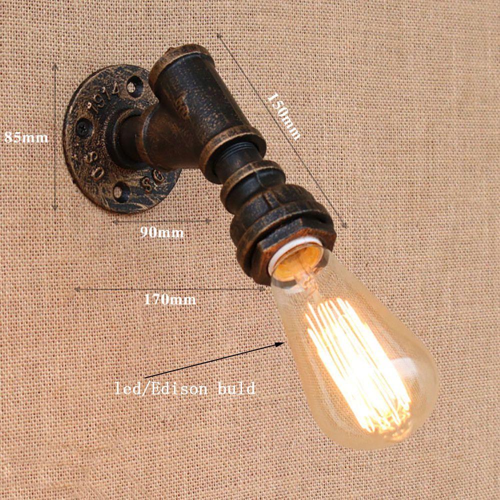 Korte ijzeren waterleiding vintage loft wandlamp bedside met edison ...