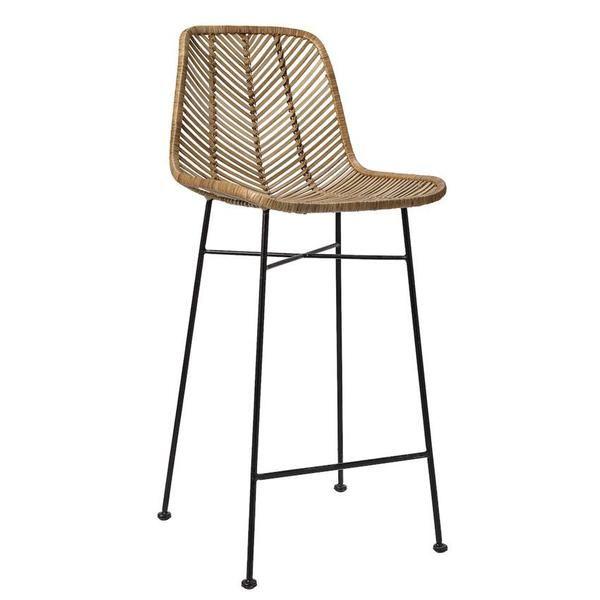 Brilliant 20 1 2Lx40 1 2H Rattan Bar Stool Natural W Metal Frame Inzonedesignstudio Interior Chair Design Inzonedesignstudiocom
