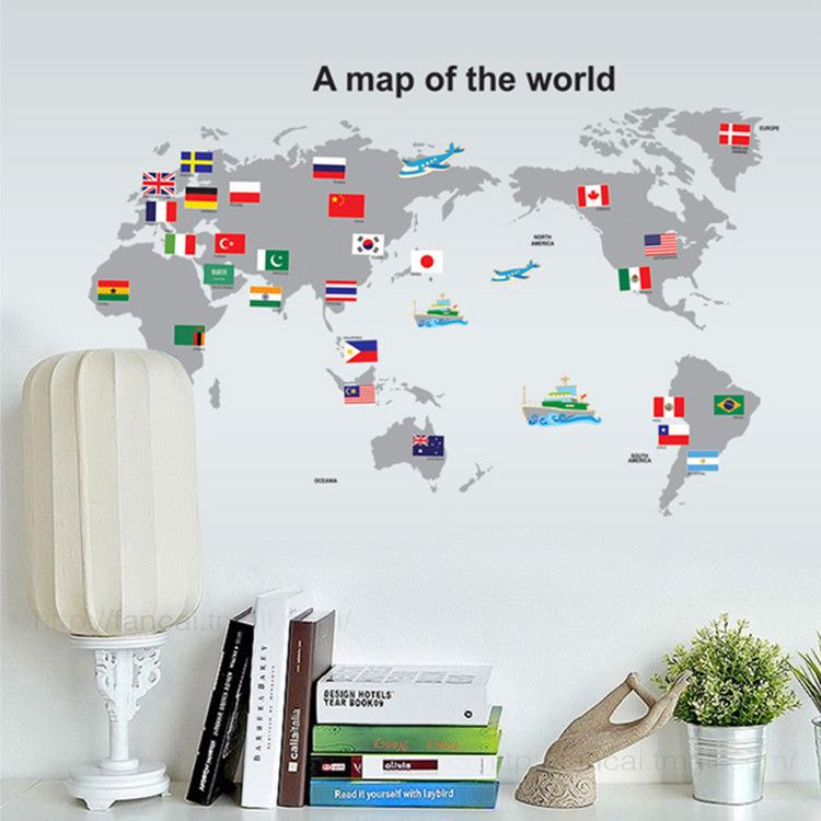 1 set 2440 inch removable pvc decals map of world wall stickers modern flags world map wall stickers decals personalized college style vinyl murals boys home living room office classroom decor gumiabroncs Images