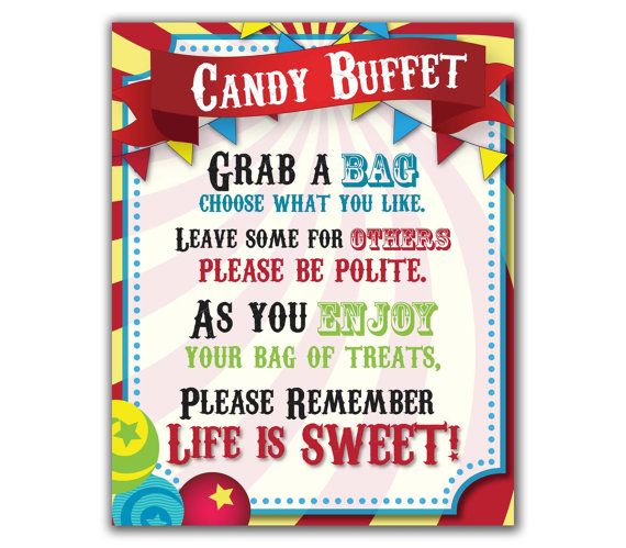Circus Candy Buffet Sign, Carnival Party, Sweets Table Sign Leo - circus party invitation