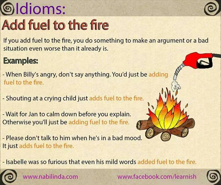 Add fuel to the fire idioms pinterest english idioms free add fuel to the fire publicscrutiny Images