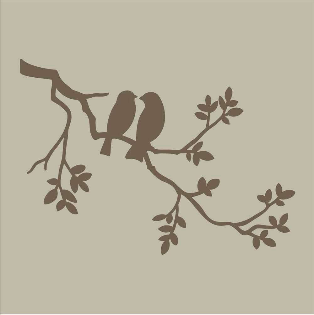 Stencils two birds on branch stencil design by superiorstencils two birds on branch reusable stencil 5 sizes available wall stencil create pillows and cottage signs amipublicfo Images