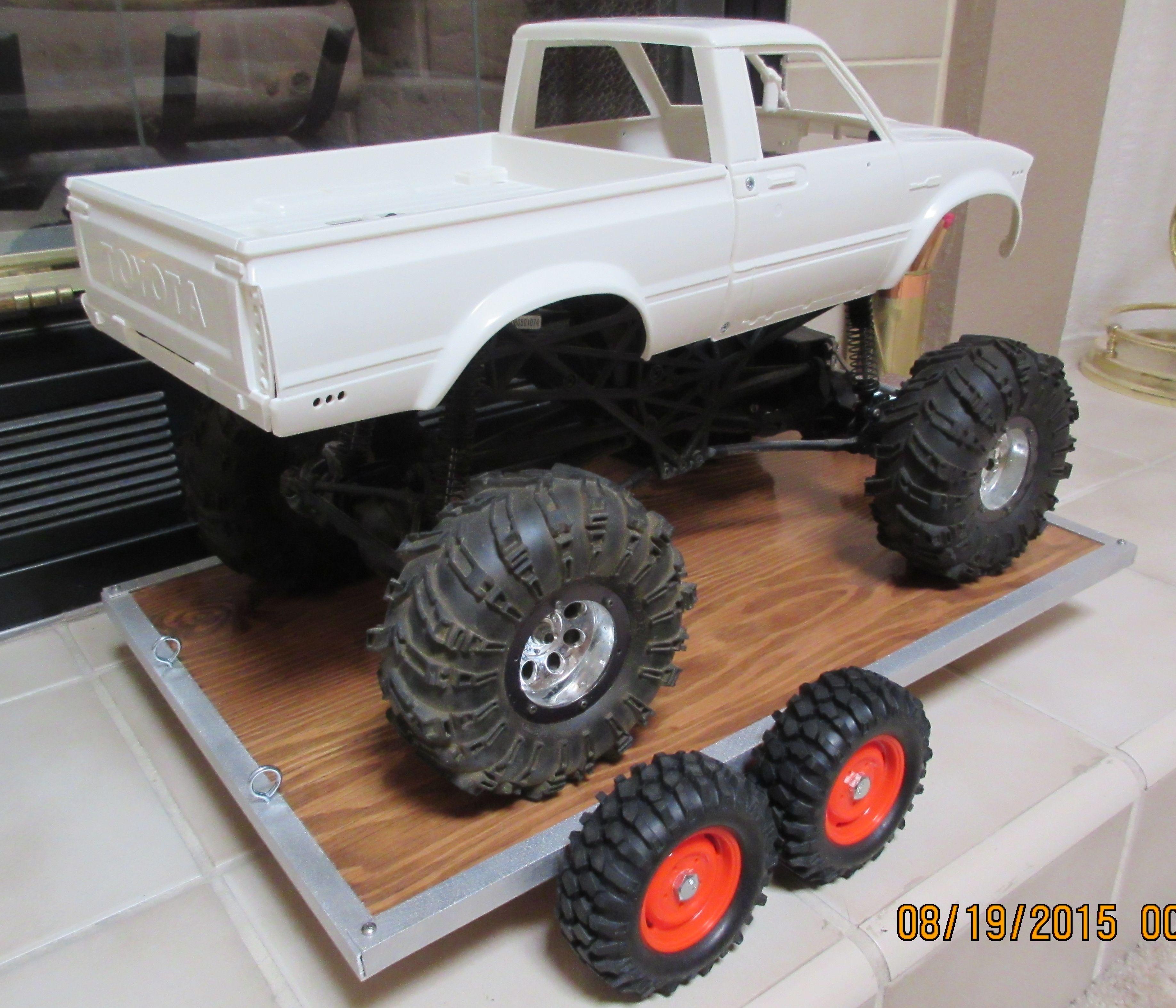 RC Rock Crawler Car Truck Hauler Trailer. Brushed Aluminium, Axial ...