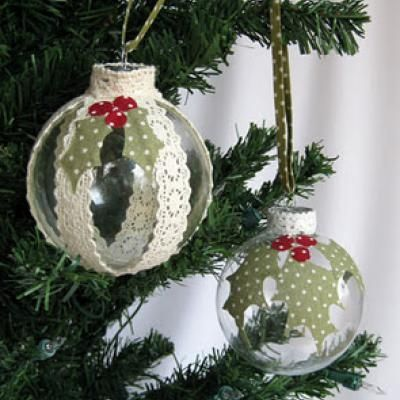 Homemade Christmas Ornament Idea DIY with Flat Lace and Fabric