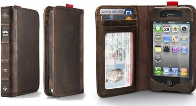 BookBook for iPhone 4 by Twelve South: A tiny book, so sweet! Handmade of leather with slots for ID, cash and cards. Slide the phone up to shoot.  Find it here http://tinyurl.com/7pq92n4  $59.99 #BookBook #TwelveSouth