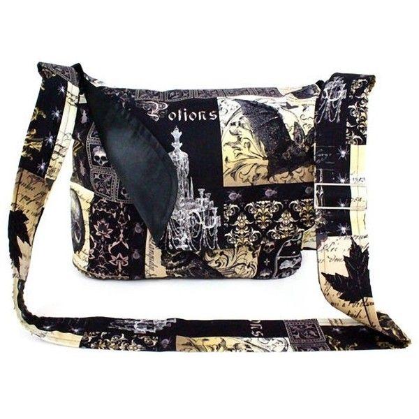 Hemet Edgar Allen Poe Inspired Messenger Bag Black ($55) ❤ liked on Polyvore featuring bags, messenger bags, messenger bag and courier bag