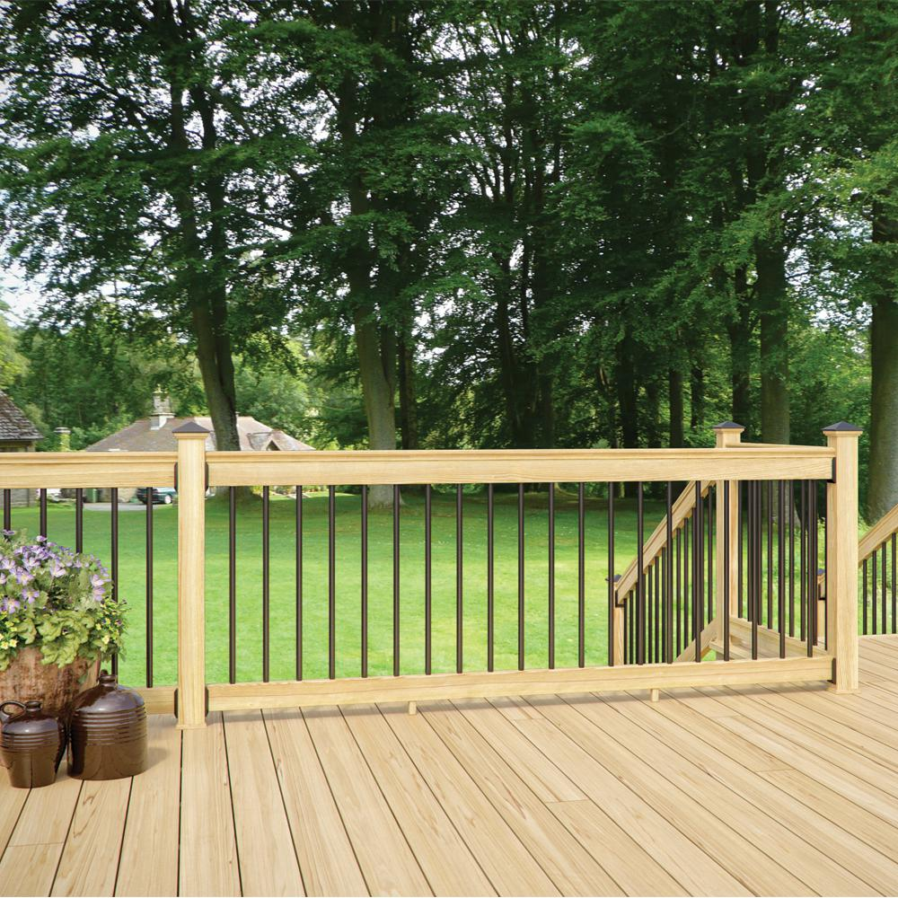 Deckorail 8 Ft Aluminum Pressure Treated Southern Yellow Pine Deck Rail Kit 298645 The Home Depot Deck Railing Diy Deck Railings Railings Outdoor