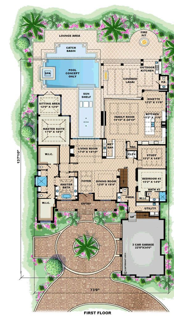 Mediterranean House Plan 75913 Level One House Plan Pinterest