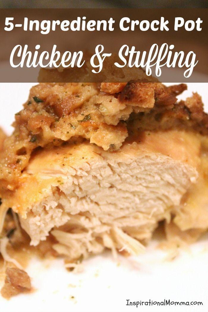 5 Ingredient Crock Pot Chicken Stuffing Recipe Stuffing Recipes Chicken Crockpot Recipes Crockpot Recipes Slow Cooker
