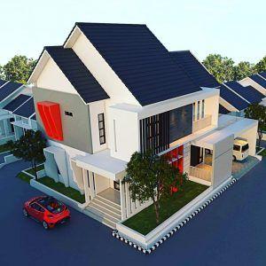 desain atap rumah minimalis modern dengan warna biru dan