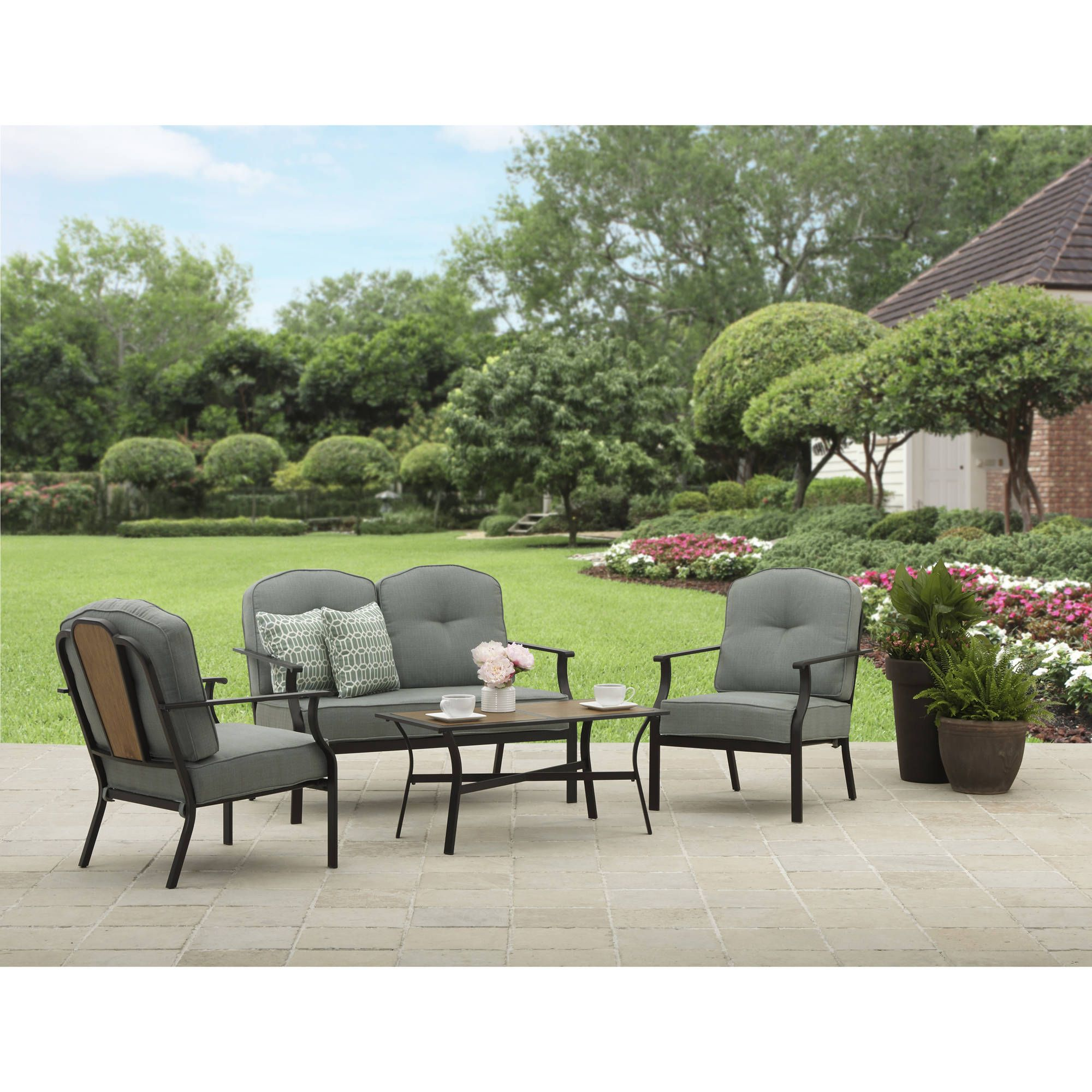Better Homes And Gardens Rolling Oaks 4 Piece Conversation Set   Walmart.com