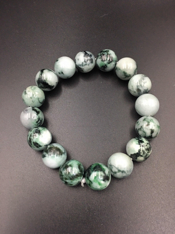 untreated green Jadeite Burmese Natural Jade Bracelet