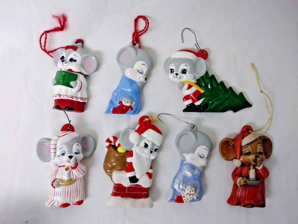 Lot of 7 MOUSE Christmas Ornaments CERAMIC BISQUE Hand Painted Xmas Decor - Vintage Christmas Ornaments Lot Of 7 CERAMIC BISQUE Hand Painted