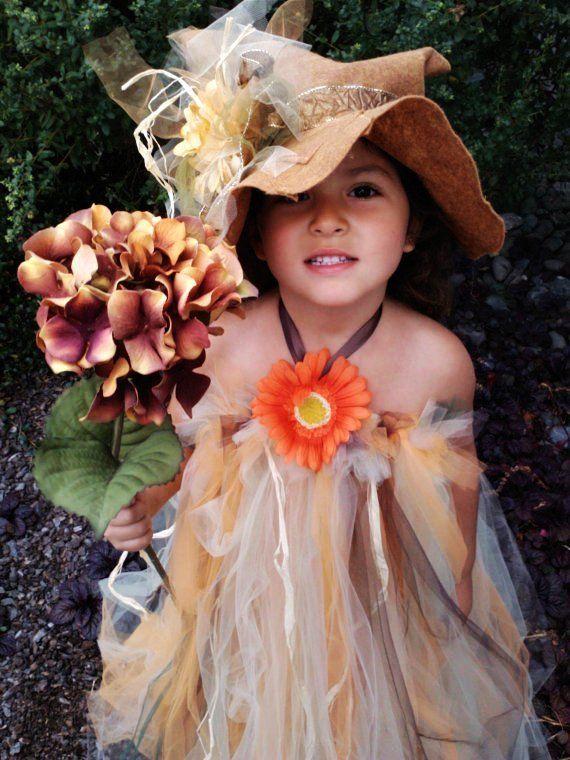 Scarecrow Costume Girls Halloween tutu halter dress and floppy hat - kid halloween costume ideas