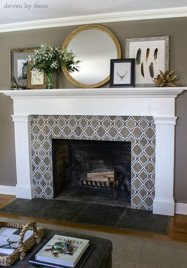 Our New Fireplace | Geometric tiles, Round mirrors and Mantle