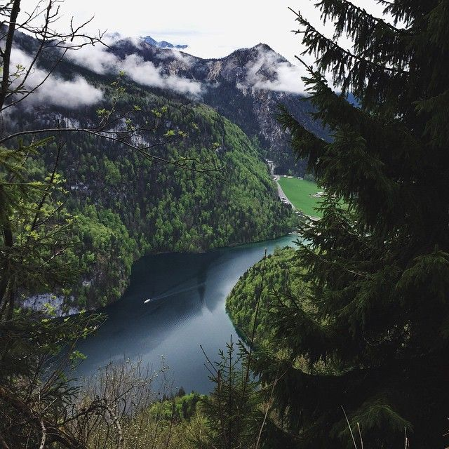 Round hiking route high above königssee #alps #mountains #forrest #hiking #lake #clouds #ship #bavaria #berchtesgaden #germany #travel
